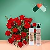 Pack Ramo de 24 rosas + Kit Cosmética - Ramo de flores naturales-Regalo San Valentín-Regalo Día de la Madre - Envío a domicilio 24h GRATIS - Tarjeta dedicatoria de regalo