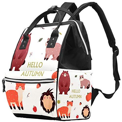 Grand sac à langer multifonction pour bébé Motif Hello automne Forêt animaux Sac à langer Sac à dos de voyage pour maman et papa