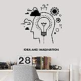 WERWN Pegatina de pared palabra creatividad e imaginación creación engranaje lámpara vinilo ventana etiqueta oficina estudio decoración interior arte mural