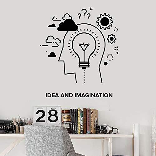 ASFGA Wandaufkleber Wort Kreativität und Phantasie Kreation Gear Lampe Vinyl Fenster Aufkleber Büro Studio Innendekoration Kunst Wandbild