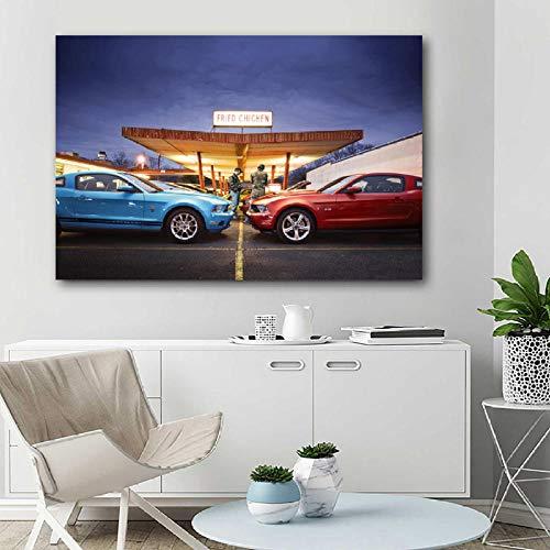 VVSUN Mustang Super Sport Car Canvas Wall Art Painting Poster e Impresiones para la decoración Moderna de la Sala de Estar 50X75cm 20x30inch Sin Marco
