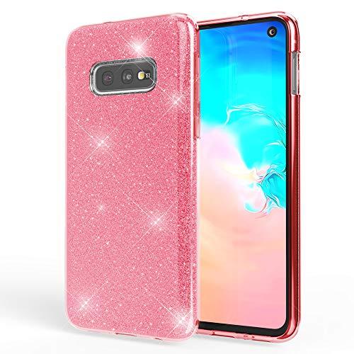 NALIA Hülle kompatibel mit Samsung Galaxy S10e, Glitzer Handyhülle Ultra-Slim Silikon-Hülle Back-Cover Schutzhülle, Glitter Sparkle Handy-Tasche Bumper Dünnes Bling Strass Etui Schutz, Farbe:Pink
