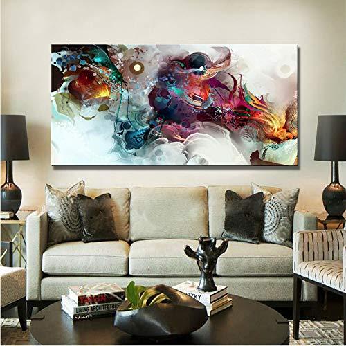 tzxdbh Moderne Poster und Replik, Wandkunst Leinwand Gemälde auf Leinwand Wohnkultur Aquarell abstrakte Wohnzimmer Wandbild mit Rahmen 60x120cm