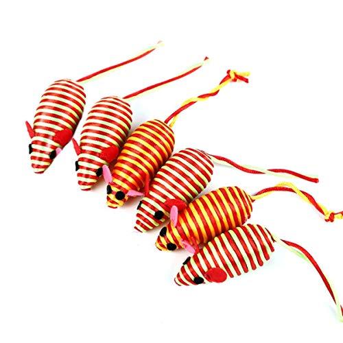 NA 6 Stück Mäuse Katzenspielzeug, Sisal-Maus, Katzenspielzeug, interaktives Katzenspielzeug für Katzen und Kätzchen-Training