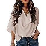 Casual plisado superior de las mujeres de verano nueva versión de color sólido V-cuello de manga corta camiseta suelta