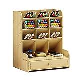 Organizador de escritorio de madera, multifuncional, con cajón, papelería, escritorio, organizador de escritorio, soporte para bolígrafos, para el hogar, la oficina y la escuela, color White Maple
