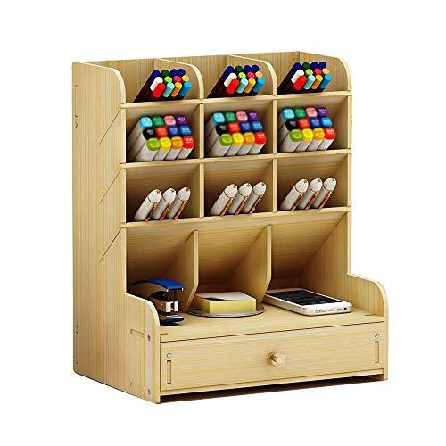 Organizador de escritorio de madera multiusos con cajones y almacenamiento para bolígrafos y artículos de papelería, ideal para el hogar, la oficina y la escuela, color Arce blanco.