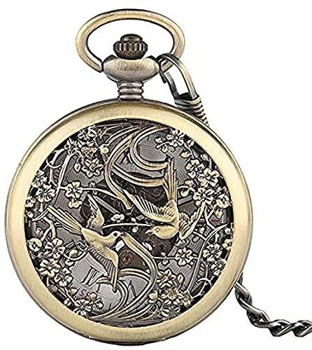WYDSFWL Collar Reloj de Bolsillo de Bronce diseño Retro de Bolso Soporte de Bolsillo mecánico Percha Reloj de Bolsillo números Romanos dial con Cadena Mejor Regalo Unisex Regalo para niños