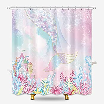 KOMLLEX Mermaid Tail Shower Curtain 60Wx72H Inches Girl Kids Under The Sea Castle Ocean Marine Glitter Seaweed Pink Green Jellyfish Children Fabric Waterproof Polyester with 12 Pack Plastic Hooks
