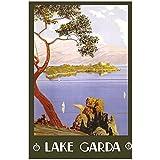 zkpzk Vintage World Travel Tourism Poster Italia Lago De Garda Pinturas Clásicas En Lienzo Arte De La Pared Imagen Carteles Decoración para El Hogar Regalo -60X80Cmx1 Sin Marco