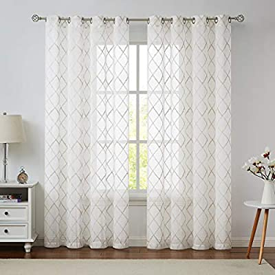 Variegatex Ivory Sheer Curtain 84 Inches Long for Living Room, Diamond Embroidered Linen Textured Grommets Voile Window Treatment Drape Sets for Bedroom, 54x84, 2 Panels