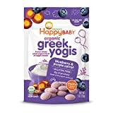 Happy Baby Organic Greek Yogis Freeze-Dried Greek Yogurt and Fruit Snacks Blueberry/Purple Carrot, 1 Ounce Bag (Packaging May Vary)