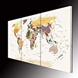 VVOVV Wall Decor - Large 3 Piece World Map Canvas Wall Art Large Wall Map Painting Home Decor for Living Room 60x36 (20'x36', World Map-1)