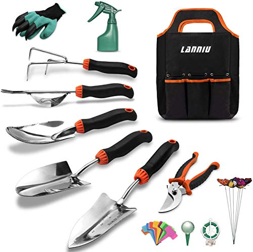 Matework Garden Tool Set, 27 Piece Stainless Steel Heavy Duty Gardening Tool Set, Gardening Tools for Women/Grandparents/Parents