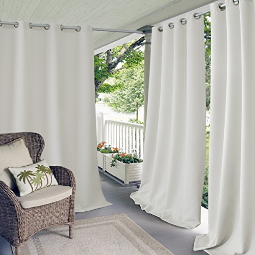 """Elrene Home Fashions Connor Indoor/Outdoor Solid UV Protectant Grommet Window Curtain Panel for Patio, Pergola, Porch, Deck, Lanai, and Cabana, 52"""" x 108"""" (1, White"""
