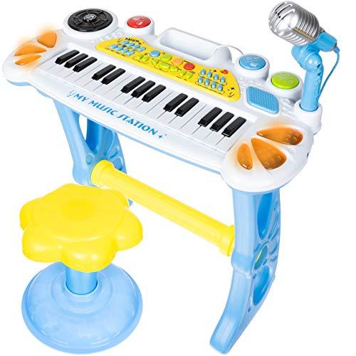ISO TRADE Keyboard Kinder Spielzeug Piano Klavier Musikinstrument Kinderpiano 11547, Farbe:Blau