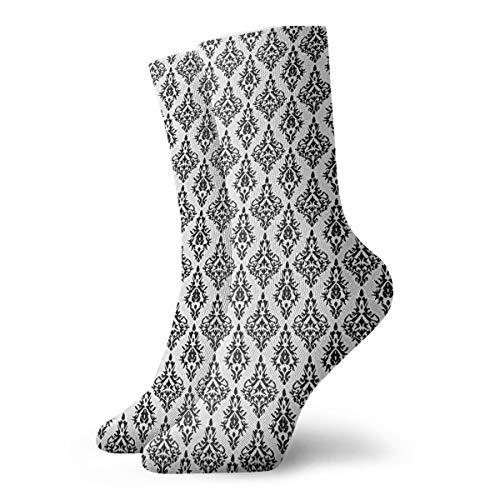 Damast Muster Fliesen austauschbar Retro Nostalgie Modern Barock Schablone Unisex Crew Socken Running Tube Socken Sport Tube Strümpfe Workout Socken für Herren Damen alle Jahreszeiten 30 cm
