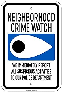 Door Ornaments,12x16in,Eye Sign Neighborhood Crime Watchs,Wall Plaque Poster Cafe Bar Pub Beer Club Wall Home Decor
