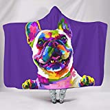 weipengda-Fashion Shoes Colorful French Bulldog Art Cuddly Colorless Wearable Blankets Careful Workmanship for Bed in Cold Weather Sunshine Style White 60x80 inch