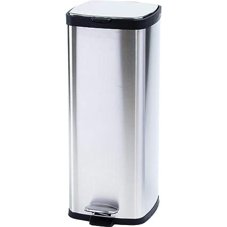 アイリスプラザ ゴミ箱 おしゃれ キッチン 生ゴミ ふた付き ペダル式 30L 角型 匂いが漏れない ステンレス シルバー STPL-30