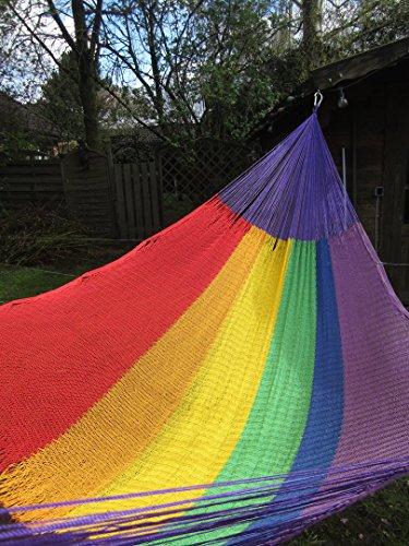 Ron y hamacas Netzhängematte, Mexikanische Hängematte Arcoiris (Rainbow), Größe Mexi3 / Matrimonial/für 1-2 Personen
