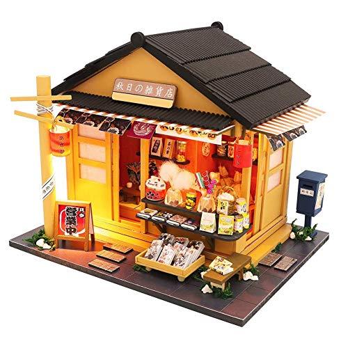 fuchsiaan Juego de muebles de casa de muñecas en miniatura con luz LED, modelo de casa de ensueño hecho a mano, regalo de cumpleaños, entretenimiento para padres e hijos tienda de comestibles
