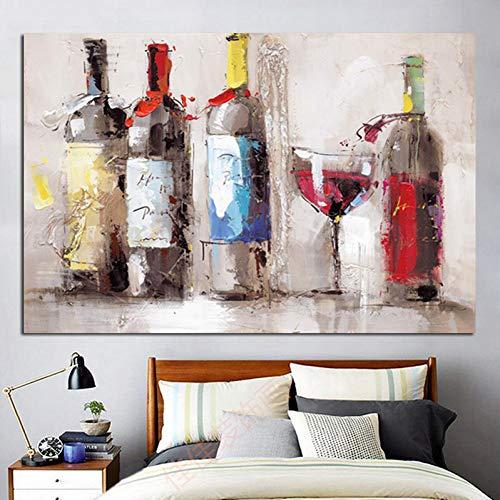 WHFLLDH Modern stille schilderij van de rode wijn- en schelpdoekenwand kunstplakkers op canvas op het Duitse binnenkantoor 30X45cm No Frame Oc-052