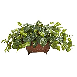 Nearly Natural 1 Pothos Artificial Plant in Metal Planter