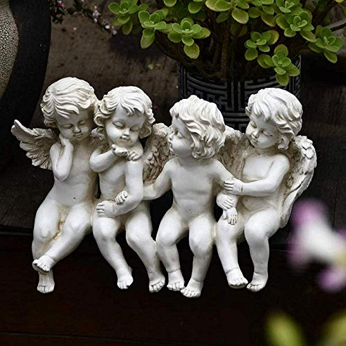 YATUKESHII Creative sculpture desktop decoration bedroom living room decoration,Cherub Statue Angel Child Sit Side By Side Statue In Garden Vintage Decor For outdoor