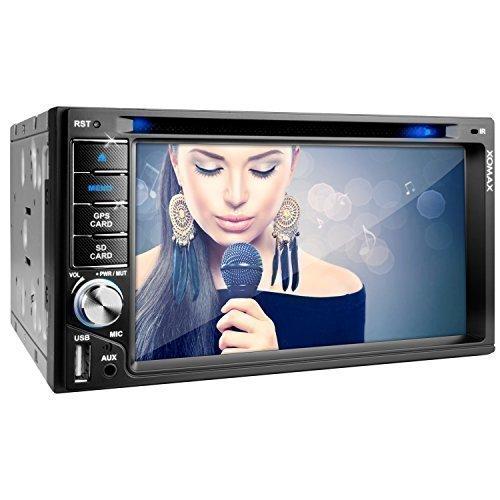 XOMAX XM-2DTSBN6216 Autoradio / Moniceiver / Naviceiver mit GPS Navigation + NAVI Software inkl. Europa Karten (38 Länder) + Bluetooth Freisprechfunktion 6,2 + USB + MicroSD+ AUX + 2 DIN (Doppel DIN) Standardeinbaugröße inkl. Fernbedienung, Einbaurahmen