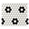"SomerTile FDXMHMWF Retro Hex with Heavy Black Flower Porcelain Floor and Wall Tile, 10.25"" x 11.75"", Matte White"