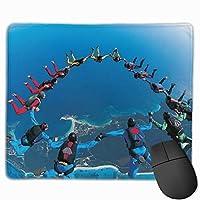 パーソナライズされたスカイジャンプパラシュート名マウスパッドマウスパッドメンズレディースデスクアクセサリー事務用品、30x25 cm /11.8x9.8インチ