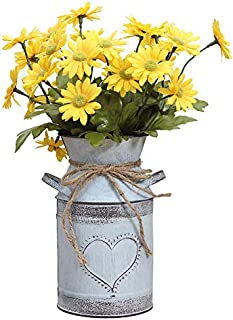 Soyizom Decorative Vintage Galvanized Milk Can,Rustic Metal Flower Pitcher Jug Vase Planters Pot with Heart-Shaped and Rope Design(Gray-Blue)