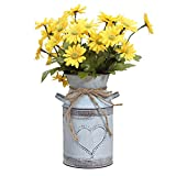 Soyizom Shabby Chic Milk Can with Heart-Shaped and Rope Design French Farmhouse Wedding Decor Vase Metal Flowers Pitcher Vases Galvanized Can Tin Pot Rustic Bucket Primitive Jug for Decorative Holder