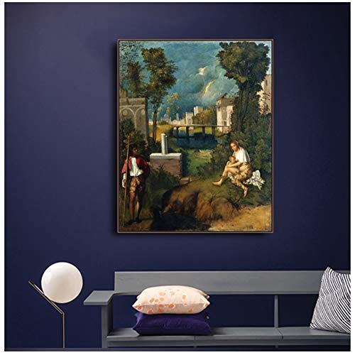 empty Canvas Art Painting《The Storm》Giorgione Artwork Picture Art Poster Wall Decor Modern Home Living Room Decoration -24x32 in No Frame