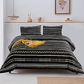Luxlovery Boho Black Comforter Set King Farmhouse Bedding Comforter Set Aztec Bohemian Folkloric Comforter Art Pattern Quilts Cotton Soft Breathable White Striped Geometric Quilts Cozy Comforter Set