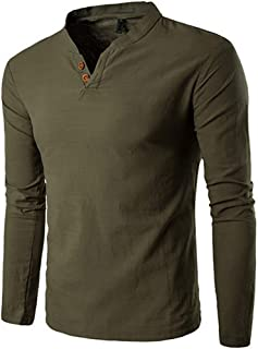 Men's T-Shirt, F_Gotal Autumn Winter V-Neck Splicing Henry Button Long Sleeve Top Fitted Blouse Pullover Sweatshirts