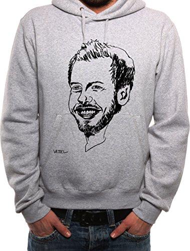Mister Merchandise Herren Hoodie Kapuzenpullover Sebastian SEB Vettel, Größe: S, Farbe: Grau
