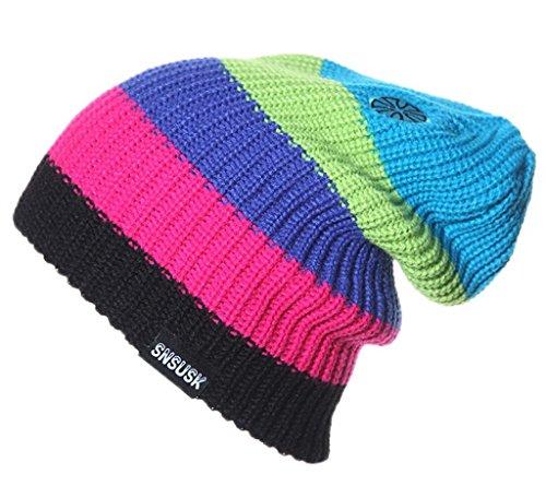 Bigood Bonnet au Crochet Homme Femme Chapeau Hiver Tendance Rayure Bleu