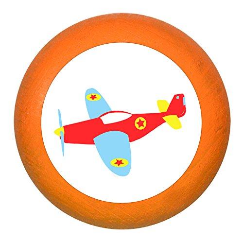 "Schubladengriff""Flugzeug"" orange Holz Buche Kinder Kinderzimmer 1 Stück Fahrzeuge Transportfahrzeuge Traum Kind"