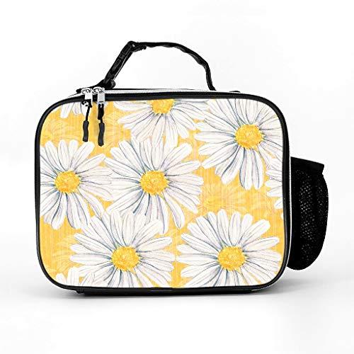 Bolsa nevera con diseño de girasol y margaritas, bolsa de picnic, bolsa térmica impermeable para almuerzo, bolsa para el trabajo, escuela, piel, blanco, talla única