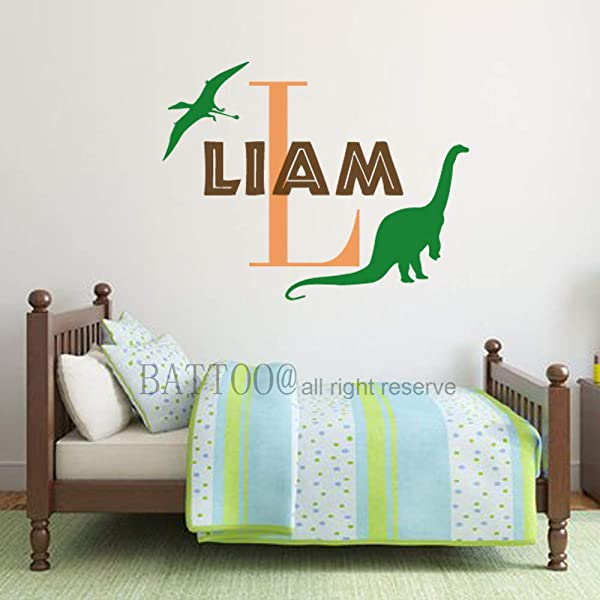 Personalized Name Wall Decal Dinosaur Wall Decal Boys Name Decal T Rex Wall Decal Kids Room Wall Decal Dinosaur Nursery Decal Plus Free Hello Door Decal 18 Wide 14 Tall