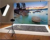 Lake - Fondo de vinilo para fotografía de 12 x 10 pies, horizonte sobre mar piedra, exquisitos rayos de sol y reflexión, fondo romántico para fotografía de fondo de estudio