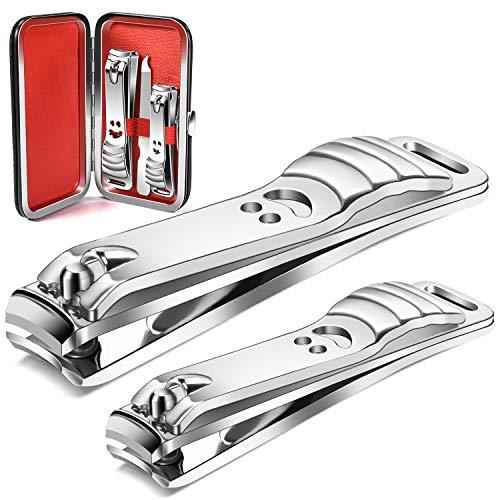 longzon Nagelknipser 2 Stück Nagelzwicker mit Nagelfeile und Büchse Edelstahl Nagelschneider für Finger und Fußnägel