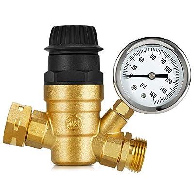 Kohree Handle Adjustable RV Water Pressure Regulator Valve, Upgrade Brass Lead-Free Water Pressure Reducer with Gauge 160PSI and 2 Inlet Screened Filters for RV Camper Travel Trailer Garden from Kohree