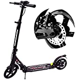 WINNINGO Kick Scooter for Adults Teens with Disc Brake, Easy-Folding System, 220lb Weight Capacity, 8' PU Wheels, Adjustable Height and Dual Shock-Absorbing (Black)