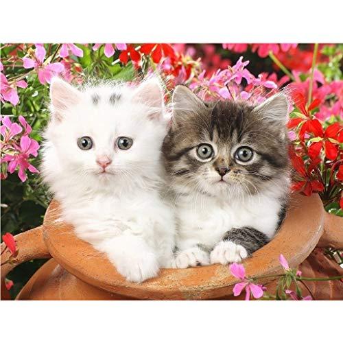 Kit de cuadro de punto de cruz para niños DIY 5D, pintura por números, gato blanco y colorido gato templo pintura con diamantes arte manualidades lienzo decoración de pared 40 x 30 cm