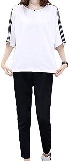 [ジルア] レディース スウェット 上下セット ジャージ スリーライン 半袖 tシャツ 九分丈 パンツ セット ホワイト ブラック レッド #083
