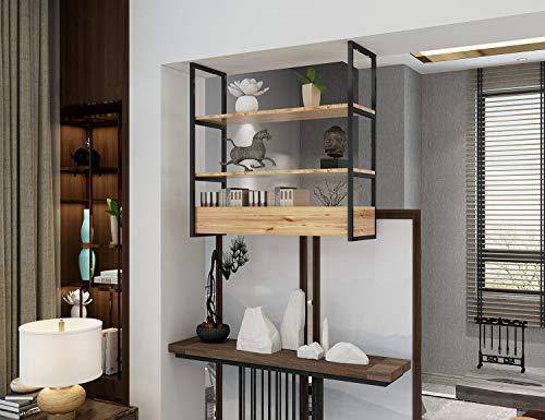 DIYHDSoporte de estante de tubo plano negro de montaje en techo de 3 capas Estante de cocina negro rústico industrial, sin caja de madera