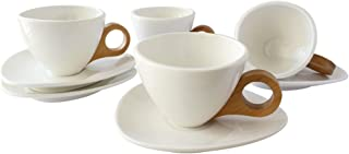 Tableware White Porcelain 5.5 Ounce Coffee Mug Set of 4 Wooden Handle with Saucer Ceramic Tea Cup